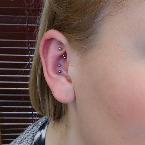 Dobbelt Conch piercing cartilage brusk piercing unisex labret