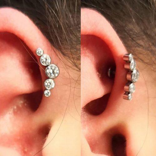 forward helix piercing fronthelix med juvel jewel cluster labretcluster
