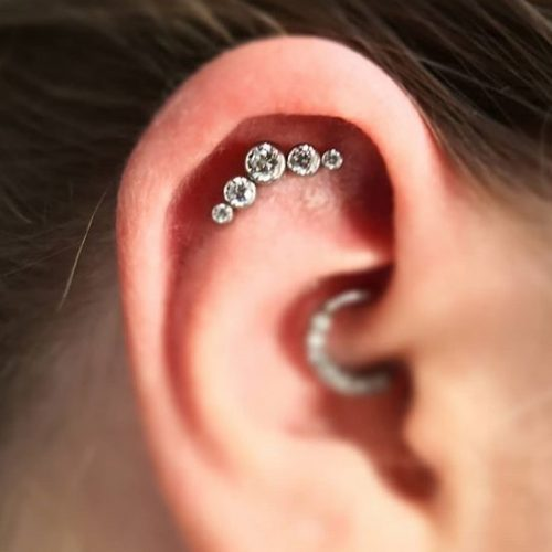 flat daith piercing jewel cluster labret hinged ring