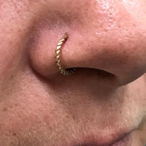 gold line twister clicker piercing ring