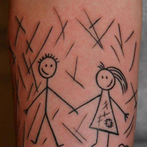 Tændstiksmand og kvinde tatovering matchstick man tattoo