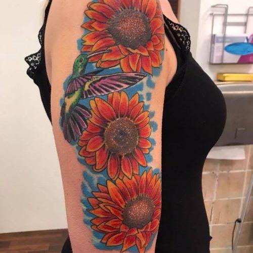solsikke tatovering sunflower tattoo bird