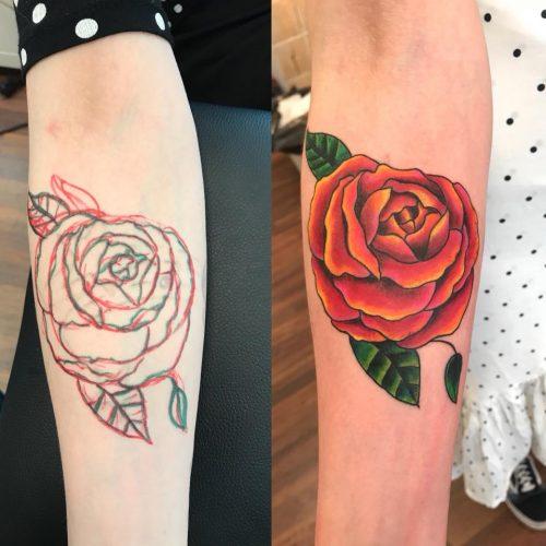 rose tattoo freehand tatovering