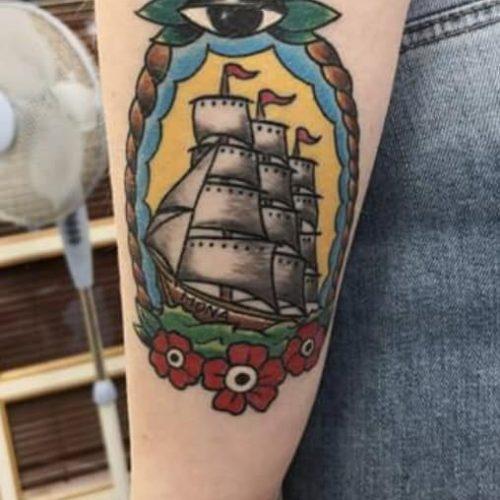 oldschool ship tattoo