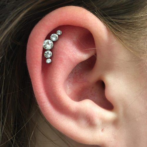 helix piercing juwel cluster labret