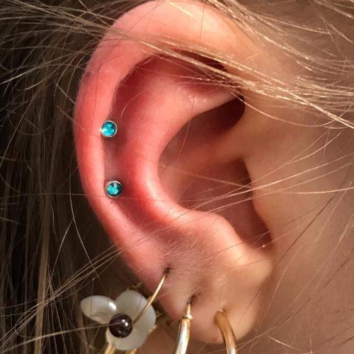 dobbelt double helix piercing