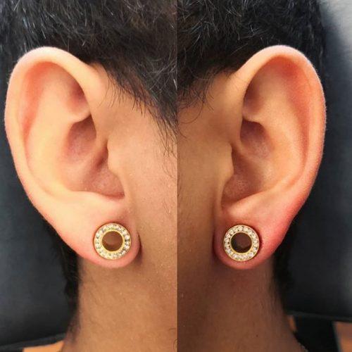Strecth pieercinger store huller i ørefllipperne