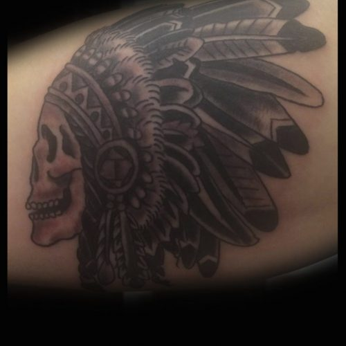 native american skull tattoo indianer tatovering