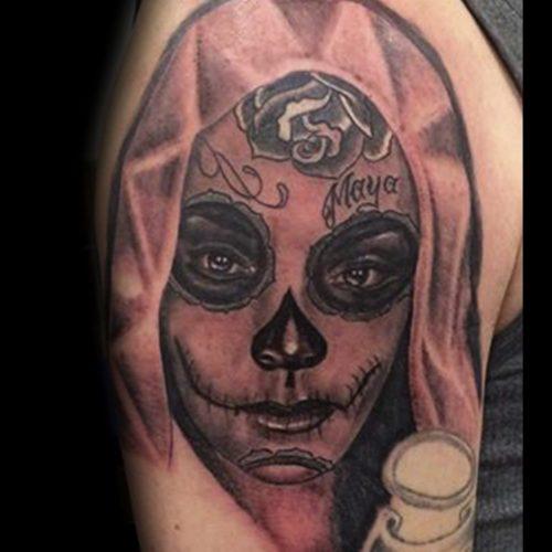 sugerskull tattoo tatovering chicano woman