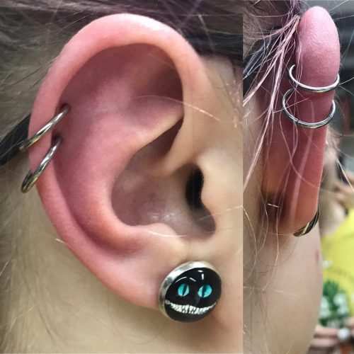 dobbelt helix piercing double cartilage ørekant segment ring