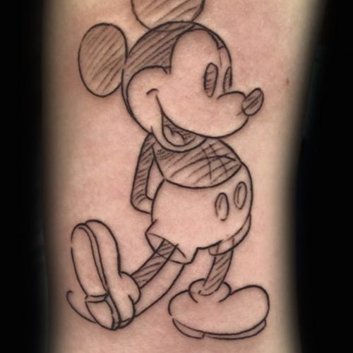 mickey mouse tattoo sketch tatovering