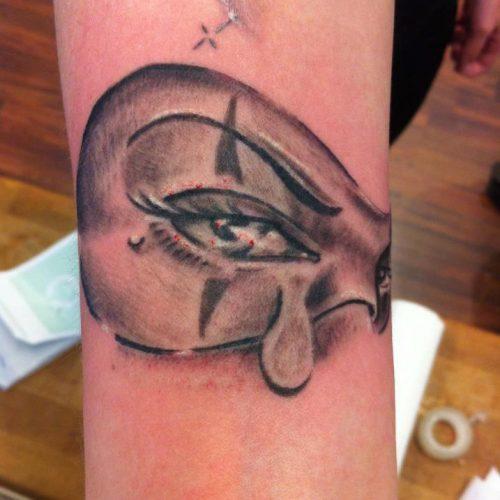 Chicano crying eye clown tattoo mask
