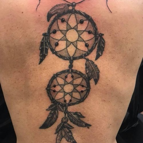 drømme fanger skygge tatovering dream catcher tattoo black and grey