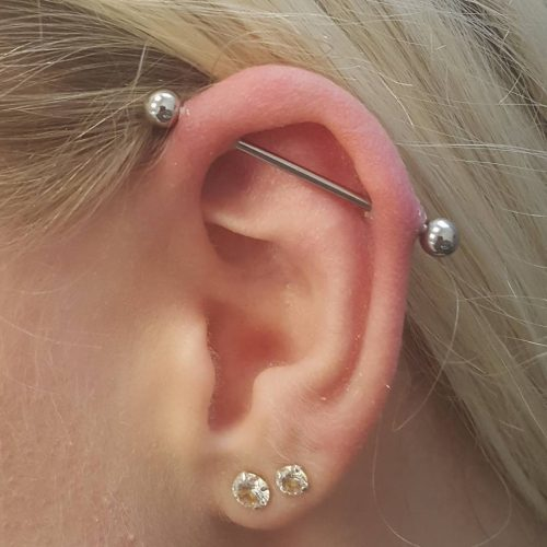 Industrial piercing ear øre cartilage barbell