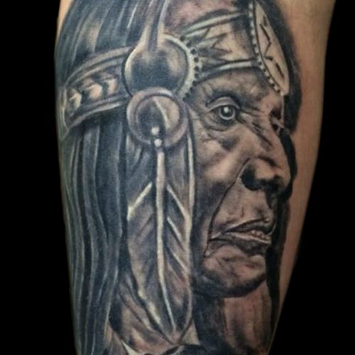 Native american portrait indianer portræt tattoo tatovering