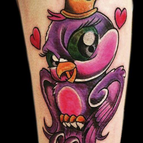 Bird colour bomb fugl new school tatovering tattoo