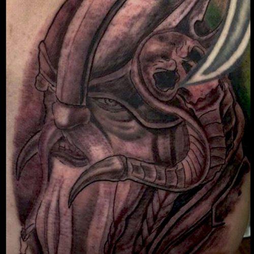 Viking tattoo tatovering black and grey
