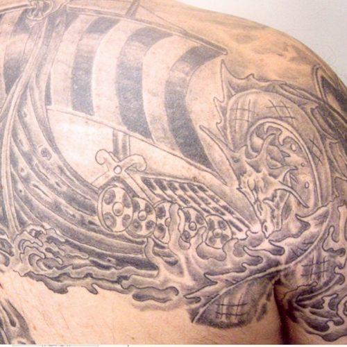 Viking ship skib skygger black and grey
